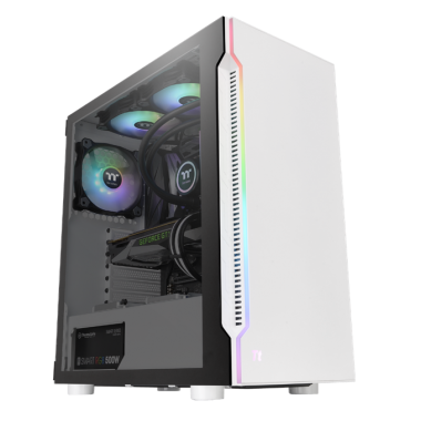 Thermaltake H200 Tempered Glass RGB Edition ATX Mid-Tower Snow Case with 1 x Black 120mm Rear Fan Pre-Installed