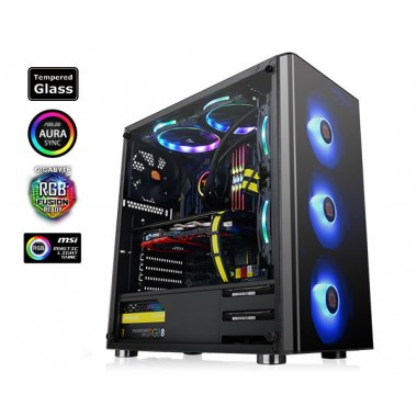 Thermaltake V200 Tempered Glass RGB Edition Mid Tower Case with 500W Power Supply