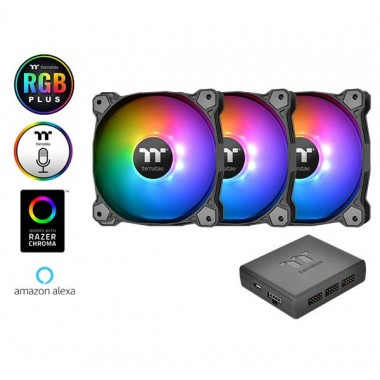 Thermaltake Pure Plus 14 TT Premium Edition 140mm LED RGB Fan with Controller - 3 Fan Pack
